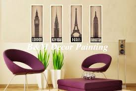 Hot Sale Giclee On Canvas 4 Pieces Wall Art Modern Decor Pictures City London Paris New York Manhattan Of Bedroom Low Cost In Painting Calligraphy From