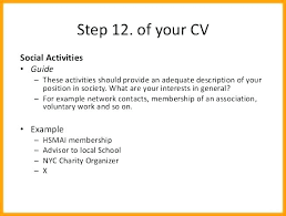 Resume Activities Examples List Of Interest For