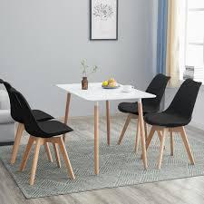 hj wedoo esstisch mit 4 stühlen schwarz esszimmer essgruppe 110x70x73cm weiß für esszimmer essgruppe esszimmerstuhl