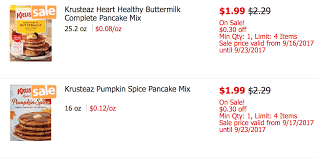 Krusteaz Pumpkin Pancake Mix Where To Buy by Krusteaz Pancake Mix As Low As 0 24 At Shoprite Ibotta Rebate