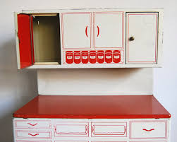 Hutch Cabinet 1950s Toy Kitchen Vintage Red Tin Wolverine Cabinets Hoosier