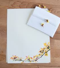 Letter Writing Paper Fall Tree Branch and Leaves Letter