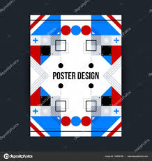 Poster Template With Futuristic Geometric Elements Style Of Constructivism And Modern Art Bright Colors Simple Shapes Vector By Miaou