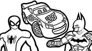 Lightning Mcqueen And Spiderman Vs Batman Coloring Pages For Kids Book