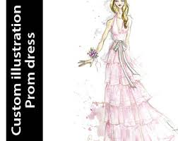 Custom Prom Dress Illustration Digital Art Gift
