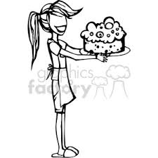 Royalty Free girl baking a cake vector clip art image EPS SVG PDF illustration