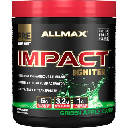Allmax Nutrition Impact Igniter Pre-Workout Candy, Green Apple - 11.6 oz jar