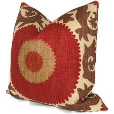 Fahri Clove Red Suzani Decorative Pillow Cover 18x18 20x20