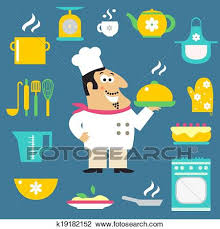 Clipart Of Restaurant Chef And Kitchen Items K19182152