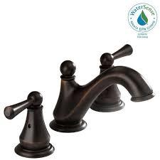 Delta Linden Faucet Home Depot by Delta Lewiston 8 In Widespread 2 Handle Bathroom Faucet In