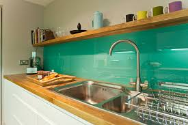 Glass Backsplash Kitchen Midcentury With Enclosed Double Bowl Sink