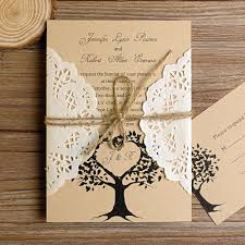 Love Tree Rustic Made In South Korea Lace Pocket Wedding Invite EWLS019