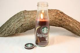 Coffee Candle In Upcycled Starbucks Bottle Cappuccino Mocha Espresso Latte Hazelnut Scented