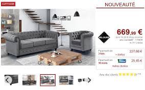 canapé 3 places et fauteuil velours argent chesterfield pas cher