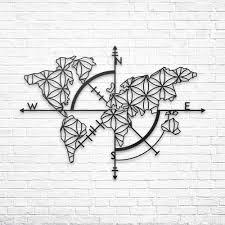 baupor metall weltkarte wandkunst mit kompass weltkarte 3d