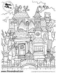 Haunted House Coloring Pages Page In Spooky Trafic Boosterbiz Images