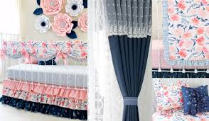 Navy And Coral Crib Bedding by Lottie Da Baby Baby Bedding Nursery Decor Baby Gifts