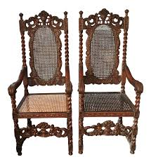 Late 19th Century Jacobean Renaissance Revival Cherub Carved Throne Arm  Chairs - A Pair Antique Jacobean Distressed Walnut Library Refectory Sofa Set Of 6 Jacobean Style Ding Chairs English Charles Ii Walnut Arm Chair Amazoncom Outdoor Camping Chairfolding Chairultra Light Vintage Pair Leather Chairs Contemporary Pottery Barn Folding Teak Rocking A Pair Buy Pad With Ties Gem Blue Floral Arden Selections Ashland Cushion Oak Monks Bench Portable Foldable Mini