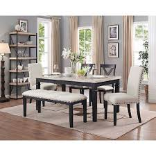 Bradley 6 Piece Dining Set Table 2 Upholstered Side Chairs X