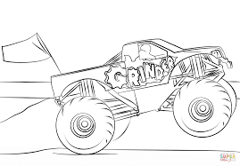 Drawing Monster Truck Coloring Pages With Kids At Trucks On Grave ...