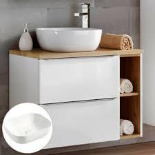 details zu badezimmer waschtisch set unterschrank regal keramik waschbecken hochglanz weiß