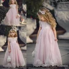 Cheap Pink Flower Girl Dresses For Weddings Ruffles Lace Appliqued