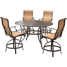 Hanover Manor 5-Piece Aluminum Round Outdoor High Dining Set With Swivels  And Cast-Top Table Kitchen Design Counter Height Ding Room Table Tall High Hightop Table With 4 Leather Chairs Top Hanover Monaco 7piece Alinum Outdoor Set Round Tiletop And Contoured Sling Swivel Chairs High Kitchen Set Replacement Scenic Top Wning Amazing For Sets Marble Square And Glass Small Pub Style Island Home Design Ideas Black Cocktail Low Tables Astonishing Rooms Modern Wood Dark 2