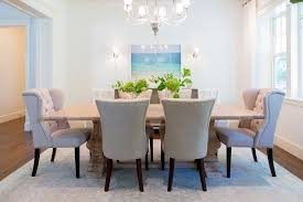 Reclaimed Wood Trestle Dining Table With Beige Tufted Nailhead Chairs