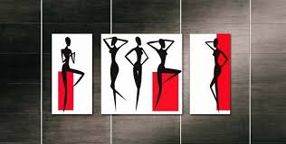 3 Piece Free Shipping Modern Wall Oil Painting Black White Red African Women Figure Art Picture Paint On Canvas Handpainted In Calligraphy