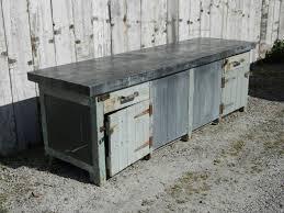 Large Rustic Pine Kitchen Unit With Zinc Top