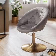 wohnling loungesessel samt grau gold design drehstuhl clubsessel polsterstuhl mit rückenlehne drehsessel cocktailsessel lounge sessel mit