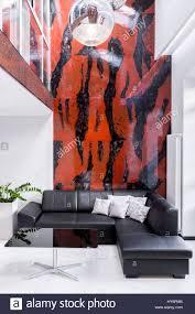 luxus wohnzimmer mit großem sofa le schwarzen und roten