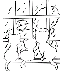 Kitties Looking At The Rain Coloring Page