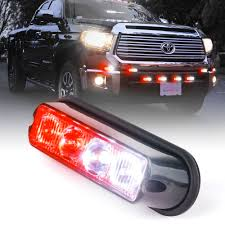1pc Red & White 4W Mount & Grille Strobe Light Head