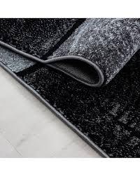 teppich modern designer wohnzimmer geometrisch karo muster meliert schwarz grau