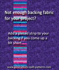 Not enough quilt backing fabric