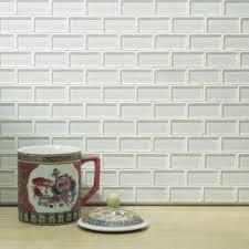 4 X 8 Glossy White Subway Tile by Merola Tile Tessera Subway Ice White 11 3 4 In X 11 3 4 In X 8