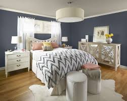Retro Gray Bedroom With Chevron Sheet Also Drum Shade Pendant Lamp And Mirrored Sideboard