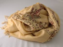 beautiful embroidered woolen scarf for women fair trade from