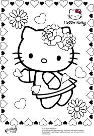 Cute Valentine Coloring Pictures Printable Pages Valentines Day Sheets Hello Kitty Full Size