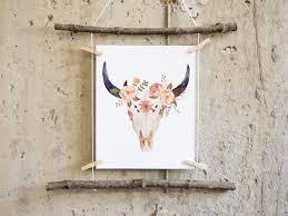 Decorated Cow Skulls Australia by Boho Wall Art Printable Boho Nursery Decor Cow Print Cow