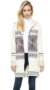 free people alpine escape sweater coat ivory in pink lyst