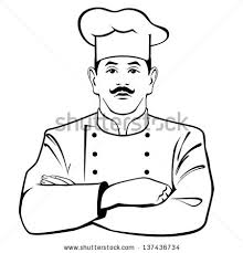 black and white illustration od a chef