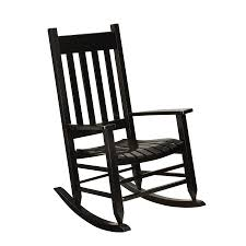 Garden Treasures Black Wood Slat Seat Outdoor Rocking Chair At Lowes.com