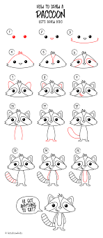 How To Draw A Raccoon Easy Drawing Step By Perfect For Kids Lets