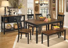 Owingsville Rectangular Dining Table W 4 Side Chairs BenchSignature Design By Ashley