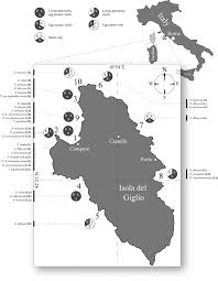 Schematic Map Of Giglo Island Grosseto County Tuscany Italy 4221000