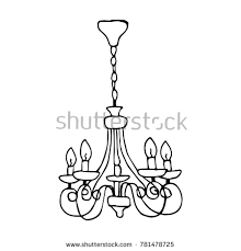 Chandelier Vector Illustration Doodle Style Design Print Decor Textile Paper