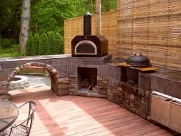Kitchen Rustic Outdoor Kitchen Idea With Natural Brown Stoe And