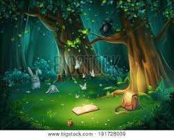 Vector Cartoon Illustration Of Background Forest Glade Bright Wood With Hares Butterflies And An Owl